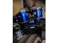 Full size drum kit with paiste symbols and hi hat
