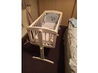 White babys swing cot