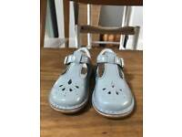 Clark's First Shoes - girls patent grey Mary Janes with buckle