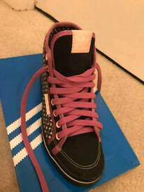 Custom Made one of a kind girls Adidas original trainers back and pink
