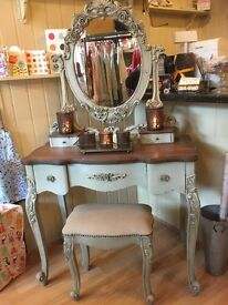 French Grey Dressing Table Mirror and Stool Set