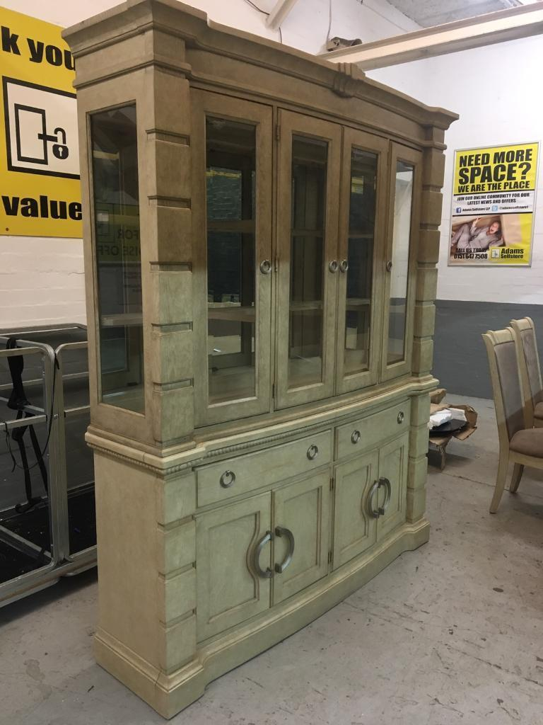 Solid Italian Ivory wooden display cabinet - £399