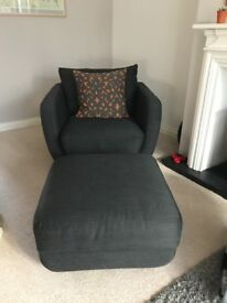 Ponsford swivel chair complete with matching footstool and cushion