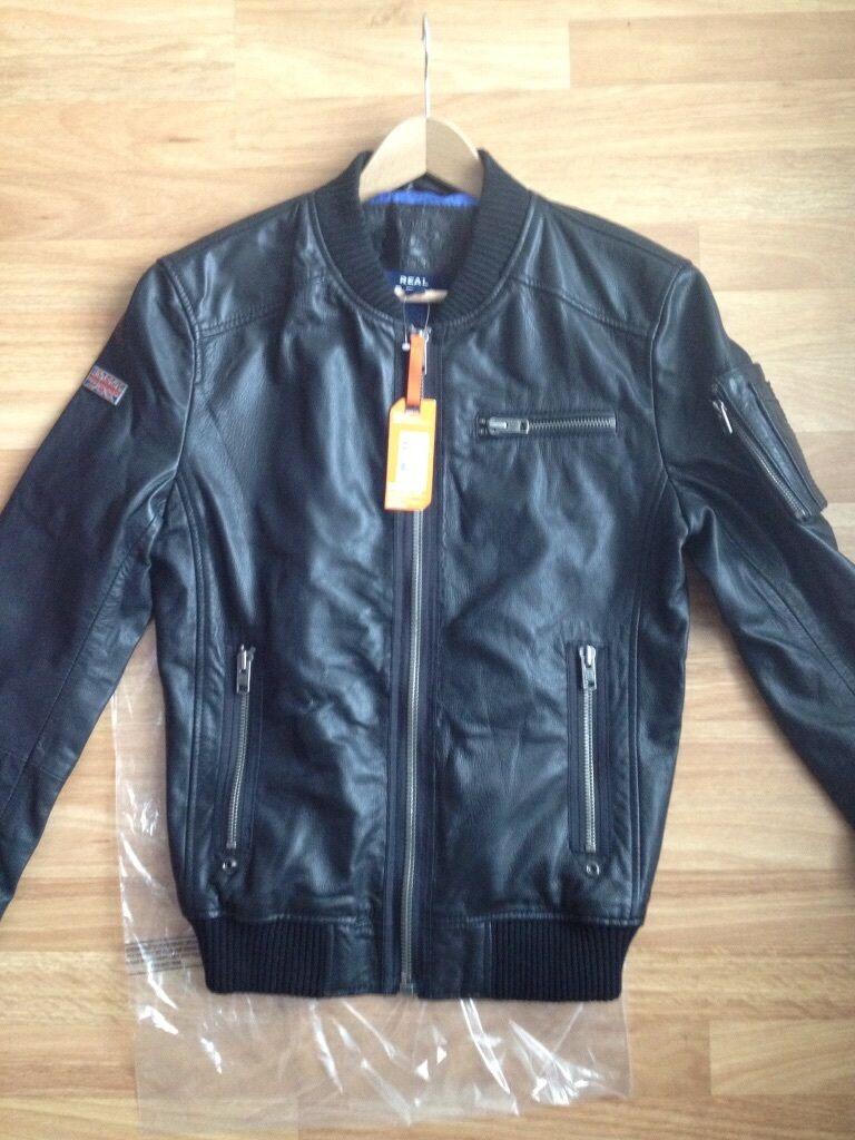 Leather jacket superdry - Superdry Men S Hero Marksman Leather Jacket L Bnwt Rrp 174 99