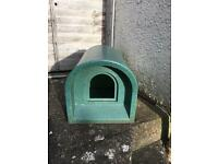Cat or small dog outside plastic hutch.