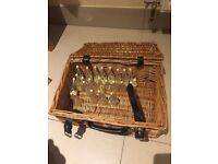Wooden Suitcase Basket With Bubbles - used as a place to put cards.