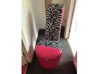 High heel chair. Pink and zebra print