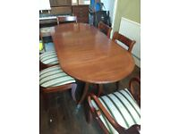 Vintage Table Brown Wood - Six Dining Chairs