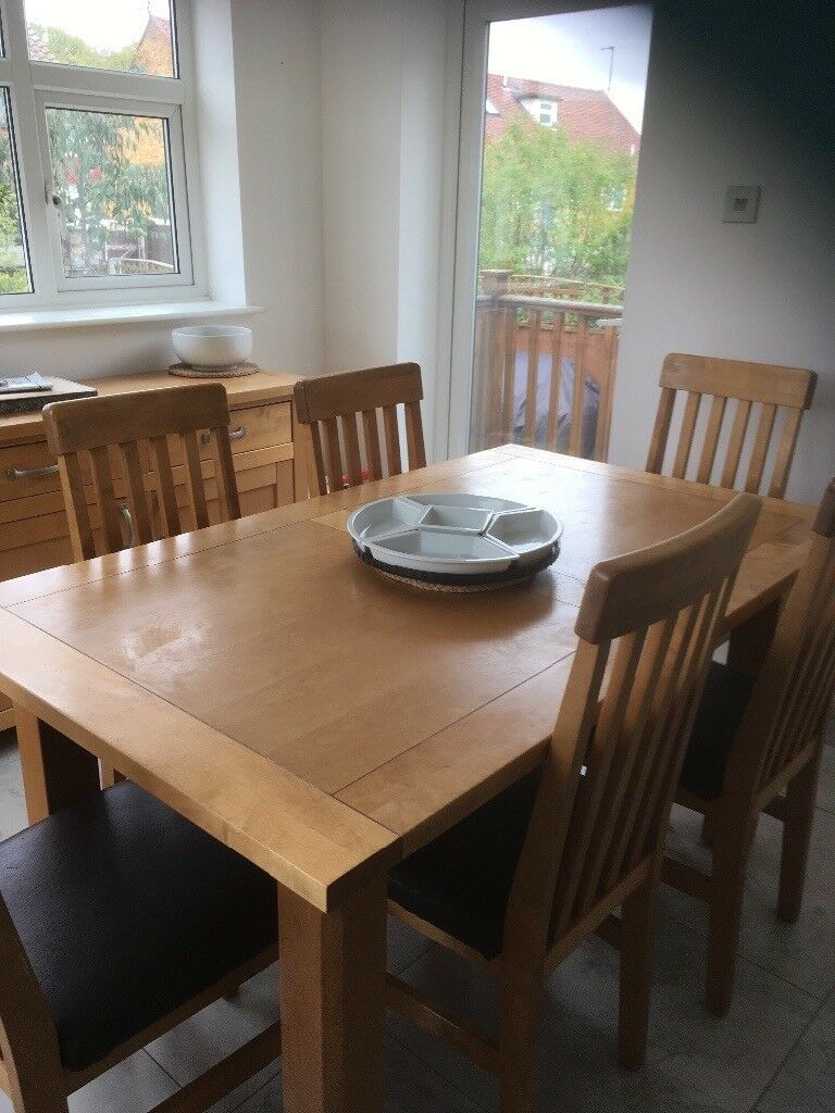 Dining Table And 6 Chairs Plus Matching Sideboard In
