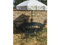 NOVA Cast Alluminium Garden Table, 6 Chairs & Wind up Parasol & cast iron base