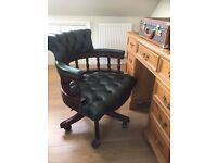CAPTAINS CHAIR LEATHER CHESTERFIELD STYLE DESK SEAT