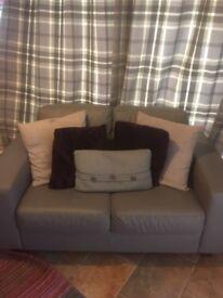Grey Faux Leather two piece sofa set