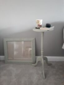 Lamp Table - Plant Stand with Matching Picture Frame **HAND PAINTED**