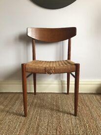 Danish Mid Century teak papercord chair AM Mobler Made In Denmark 1960s retro Moller