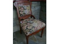 VINTAGE / COLLECTABLE HARDWOOD TAPESTRY CHAIR WITH FRONT CASTORS REDUCED TO ONLY £10 FOR QUICK SALE
