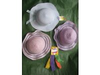 Three Brand New Hats and Pack of Four Stretch Hairbands for £3.00