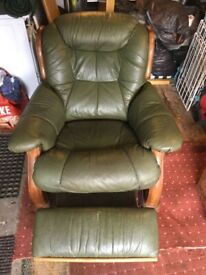 Leather settee and recliner chair