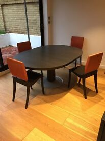 Ligne Roset Graphos table and 4 Finn chairs