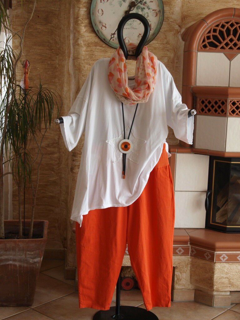 8177 LABASS 2016 Bunte Sommer Jeans Hose Stretchbund orange Gr. XL 48 50