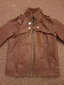 Men brown leather jacket medium