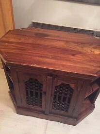 Large Solid Wood Side Table/TV Bench with Ornate Iron Door Coverings