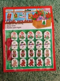 20 Christmas Card Holders and Cord Xmas Decoration Santa Snowman Soldier Reindeer