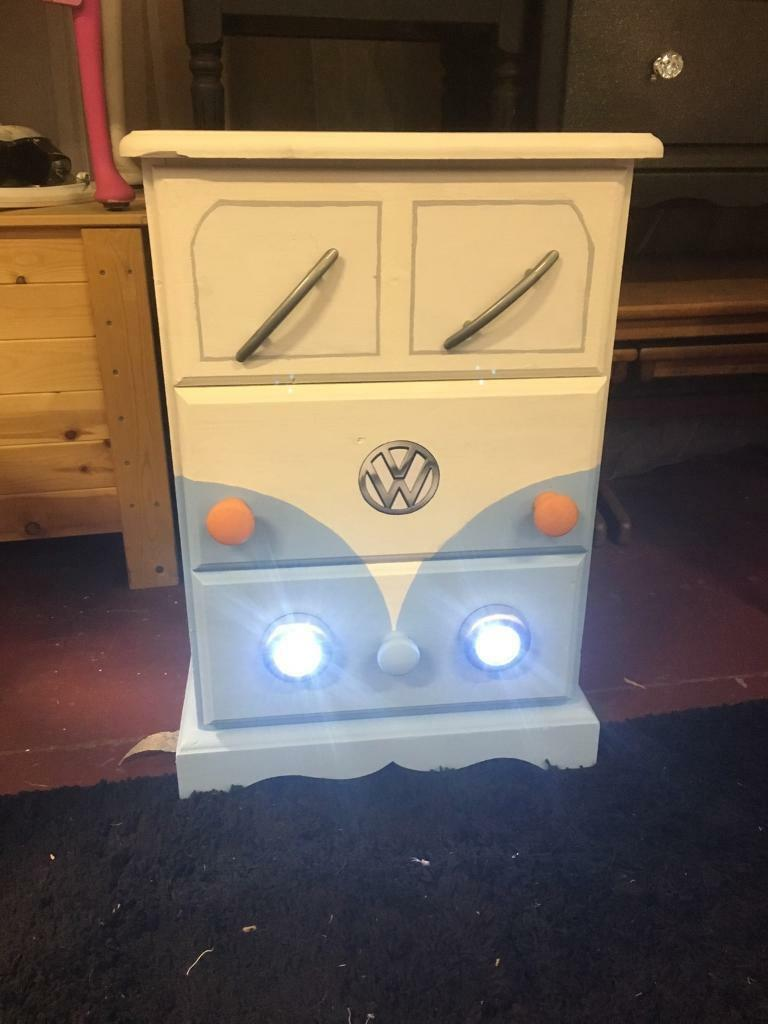 Upcycled bedside drawer unitin Newport Road, CardiffGumtree - This quirky bedside drawer unit has been upcycled in the style of a camper van with working headlights. A second is available to make a matching pair