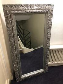 VERY LARGE ORNATE SILVER MIRROR