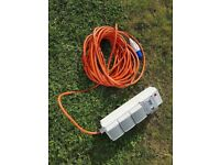 UK Camping Electric Hook Up Mains Supply Unit With 3 Sockets 20M Cable