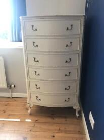 Shabby Chic Louis French Style Tall Boy Draws