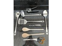 Kitchen Accessories: Ladle, Pasta Server, Turner, Wooden Spoons, Scissors, Peeler Strainer