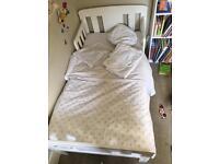 John Lewis White Boris Toddler Bed, Sprung Mattress, duvet and bed sets