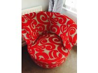 Red and silver dfs couch &a swivel chair
