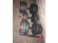 Dumbells with extra handles
