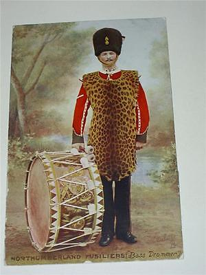 BASS DRUMMER WITH THE NORTHUMBERLAND FUSILIERS PRE WW1 MILITARY POSTCARD c1910!