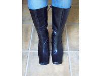 DOLCIS Black Calf High Heel Zip Up Boots 5 38 NEW Unworn £20