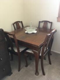 Vintage extending table & 4 chairs