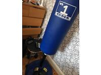 No 1 boxing punch bag stand sand weighted base and gloves (