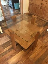 Small glass topped table