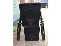 FENDER PA MONITOR STAGE SPEAKERS & STANDS