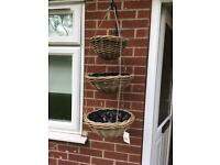 High quality rattan 3 tier hanging basket - NEW 2 available
