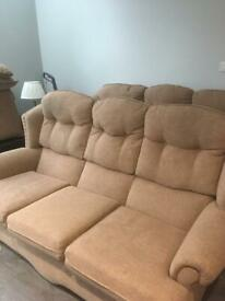 Two beige coloured sofas 3 seater/ reduced for quick sale