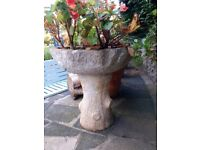 Garden planter, formed concrete, inverted toadstool, 3 planting compartments.