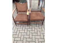 Belgian His and hers Oak Antique chairs