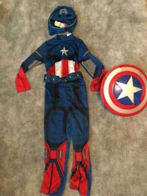 Captain America dressing up with Shield