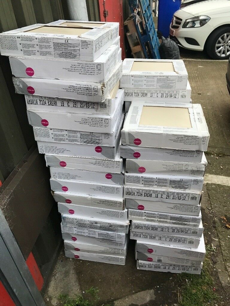 Ceramic porcelain floor tiles x65 boxes (9) per box £100 job lot .rrp over £1200 pound buyer collect