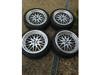 """18"""" BBS replicas 5x100 staggered 8j 9j et35 wheels with tires"""