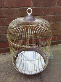 Bird cage with perch feeders and toy