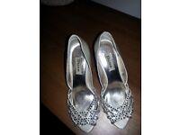 Dune Diamante Ivory Bridal Shoes (Size 4).