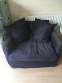 Ikea wide armchair charcoal/navy
